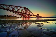 The Forth Rail Bridge At Dusk, Fife, Scotland.