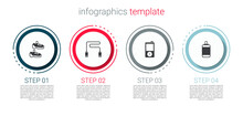 Set Sport Sneakers, Jump Rope, Music Player And Punching Bag. Business Infographic Template. Vector