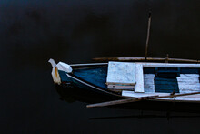 Boat Moored In Lake.