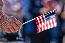 Cropped Hand Holding American Flag