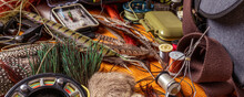 Banner Fly Fishing Still Life. Materials And Tools For Tying Lures On A Wooden Table. Hobby Concept.