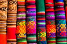 Full Frame Shot Of Multi Colored Blankets At Market Stall