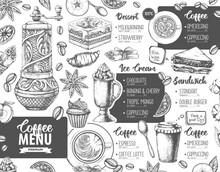 Restaurant Coffee Menu Design. Decorative Sketch Of Cup Of Coffee Or Tea. Dessert Menu