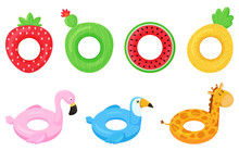 Set Of Rubber Colorful Inflatable Swimming Rings. Strawberry, Cactus, Pineapple, Watermelon, Pink Flamingo, Giraffe And Toucan.