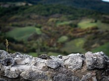 Close-up Of Stone Wall With Blurred Background