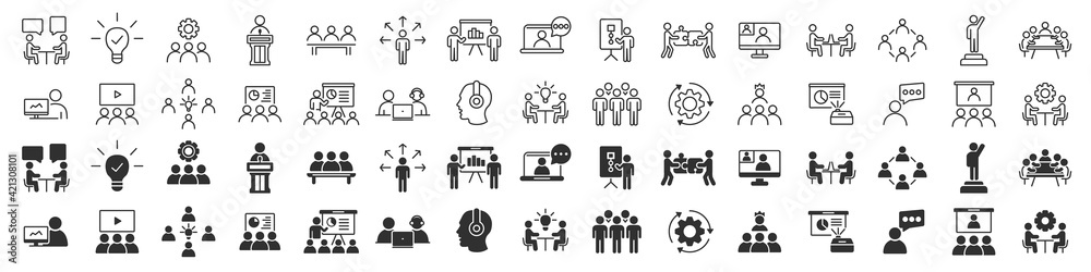 Fototapeta Business training and workshop excellent icons collection in two different styles