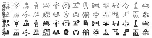 Obraz Business training and workshop excellent icons collection in two different styles - fototapety do salonu
