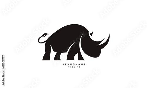 Obraz na plátně Minimal Rhino logo. Abstract Rhinoceros logo