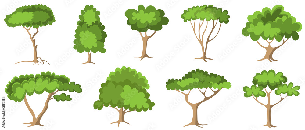 Fototapeta Set of green trees with foliage - fruit tree painted in the modern doodle style, coloring book for children. Icon for garden magazine, outline drawing symbol.