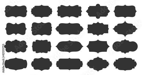 Obraz Ornate vintage label frames set. Old style design labels, decorative vintage frame. Isolated elegant royal emblem, wedding invitation card, retro sale price tag badge, product package sticker template - fototapety do salonu