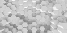 Abstract White Geometric Hexagon Background