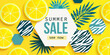 Summer sale horizontal banner with fresh lemon, tropical leaves and hexagons with animal zebra print. Bright tasty poster, flyer with invitation for shopping. Template offer of discounts deals.Vector