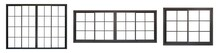 Black Metallic Window And Door Frame Set Isolated On White Background