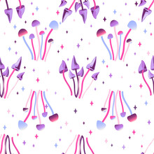 Seamless Pattern With Magic Mushrooms On A White Background. Fantastic, Unreal, Mystical, Alien Mushrooms. Vector Illustration