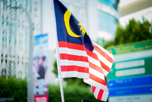 Close-up Of Malaysian Flag In City