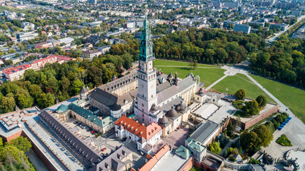 Poland, Częstochowa. Jasna Góra fortified monastery and church on the hill. Famous historic place and Polish Catholic pilgrimage site with Black Madonna miraculous icon. Aerial view in fall.