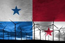 Panama Flag Wind Farm At Sunset, Sustainable Development, Renewable Energy