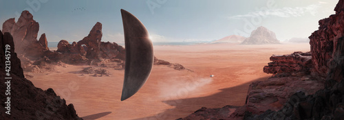 Fotografie, Obraz SCI-FI in the desert with a monolith-shaped spaceship (alien) resting on the sur