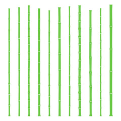 Green bamboo sticks set. Flat vector Illustration.