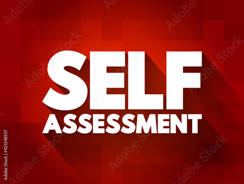Fototapeta Self Assessment text quote, concept background