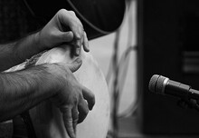 Close-up Of Man Hand With Percussion Instrument