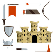 Medieval Set Of Item. European Castle With Tower, Shield, Sword, Red Flag, Tournament, Arrow, Bow, Quiver, Helmet Of Viking. Historical Subject. Cartoon Flat Illustration. Old Armor And Knight Weapons