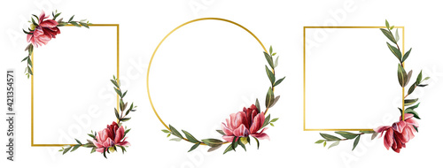 Fototapeta Hand drawn set of gold geometric frames. Peony and green branches on a white background. Watercolor flowers. Card template. Wedding concept. Design of greeting cards, invitations, posters obraz