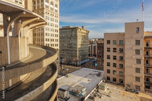 Fotografie, Tablou Spiral drive down from parking garage in downtown Spokane, Washington State, USA