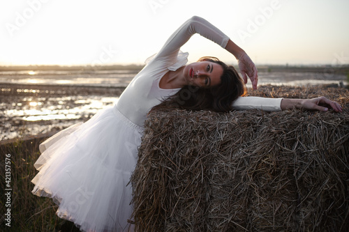 Girl dressed in tulle in a warm sunset on a straw background Fototapete