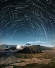 Star Field Against Sky At Night At Bromo Mountain, Indonesia