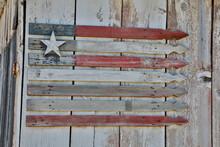 Flag On Side Of Old Wooden Shed, Benge, Washington State