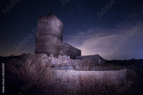 Abandoned Building Against Sky At Night