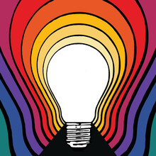 White Light Bulb Emitting Colours And Energy