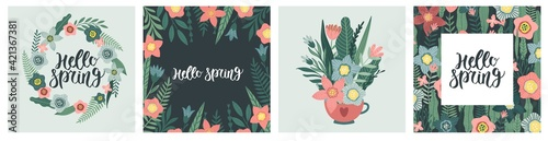 Collection of greeting card or postcard templates with flowers, floral wreath. Modern festive vector illustration for 8 March celebration.