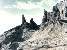 The Old Man Of Storr - Amazing Scenery With Vivid Colors. Scottish Highlands In February Morning