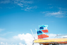 Sabah Flags Waving On The Boat In A Sunny Day.