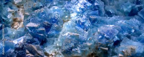 Fotografie, Obraz Blue aqua crystal rock texture background
