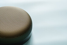 Close-up Of Bluetooth Speaker Against White Background