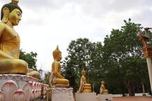 Some Small And Big Buddha Statue At Wat Pa Krok Sadao Temple,nakhon Ratchasima Province,thailand