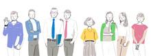 男性・女性のビジネスチームのイラスト