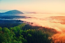 Misty Daybreak In A Beautiful Hills. Peaks Of Hills Are Sticking Out From Foggy Background,