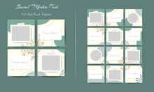 Social Media Feed Post Template Set In Grid Puzzle Style With Organic Shape Background