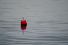 High Angle View Of Red Buoy Floating On Water