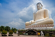 One Of Sri Lanka's Tallest Seated Buddha Statues Rests Atop A Lotus Pedestal At The Hilltop Kande Vihara In Aluthgama, Sri Lanka.