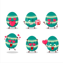 Teal Easter Egg Cartoon Character With Love Cute Emoticon