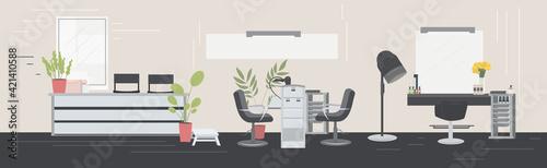 Obraz modern hair salon with chairs mirrors reception desk barber hairdresser workplace beauty salon interior horizontal - fototapety do salonu