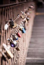 Love Locks On Brooklyn Bridge In New York City.
