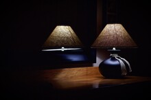 Illuminated Lamp In Dark Room