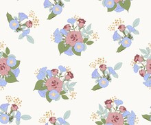 Roses And Morning Glory. Elegant Floral Vector Pattern On Beige Background For Fabric