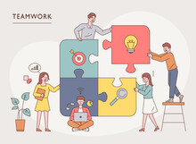 Team Members Are Putting Together A Big Puzzle. Flat Design Style Minimal Vector Illustration.